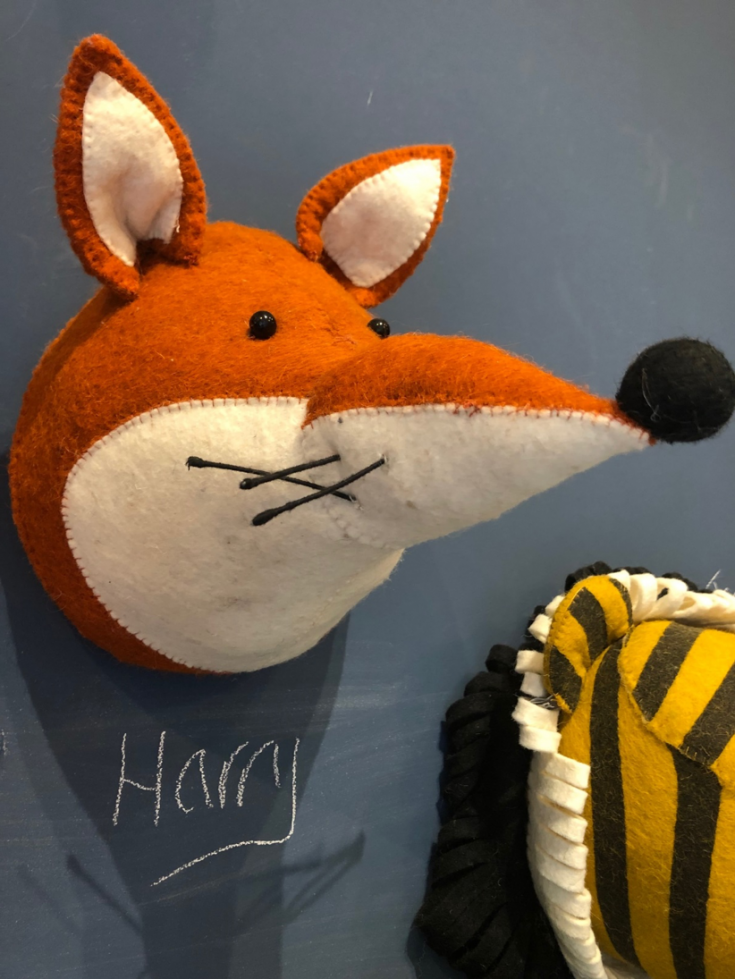 felt animal heads, children's shop in Kendal