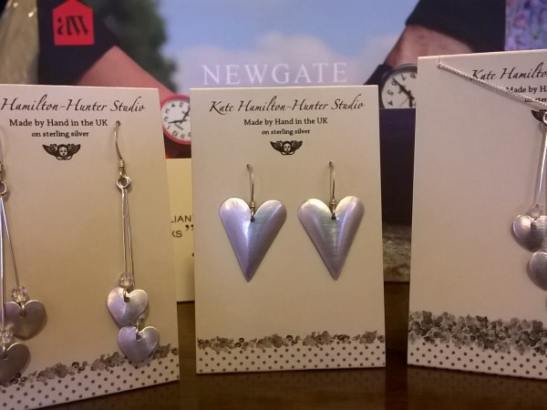 a selection of Katie Hamilton polished silver aluminium earrings £19.99 to £39.99